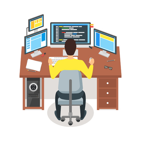 Cartoon Programmer Writes Code Workspace Concept. Vector