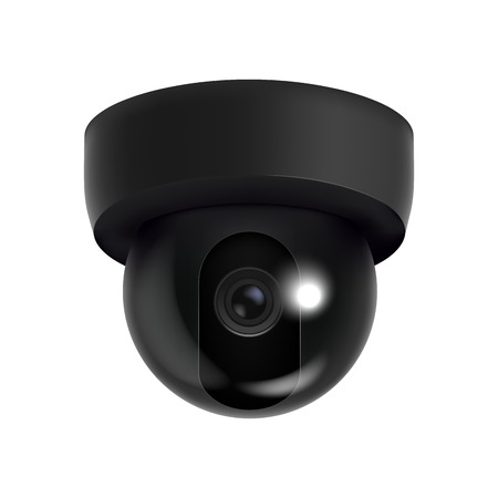 Realistic Detailed 3d Ceiling CCTV Security Camera. Vector Ilustração