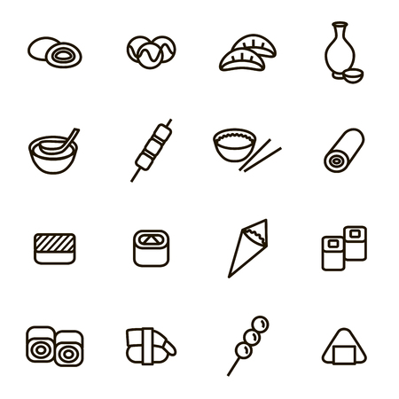 Japanese Foods Black Thin Line Icons Set. Vector