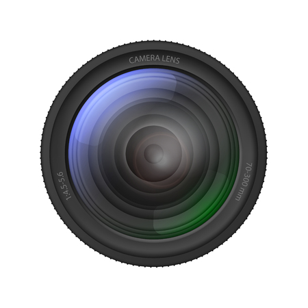 Realistic Detailed 3d Camera Lens. Vector