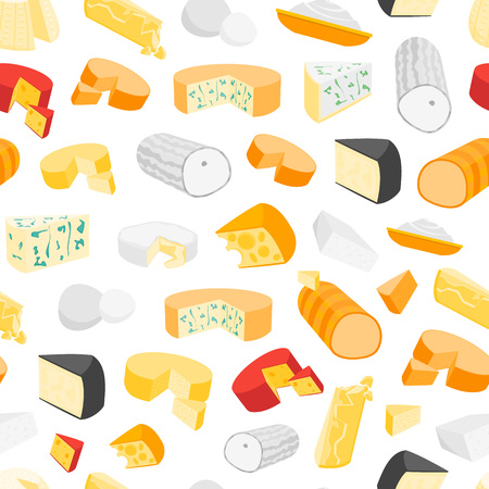 Cheese product dairy background seamless pattern, vector illustration. Ilustrace