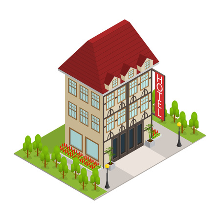 City Hotel Building Isometric View. Vector
