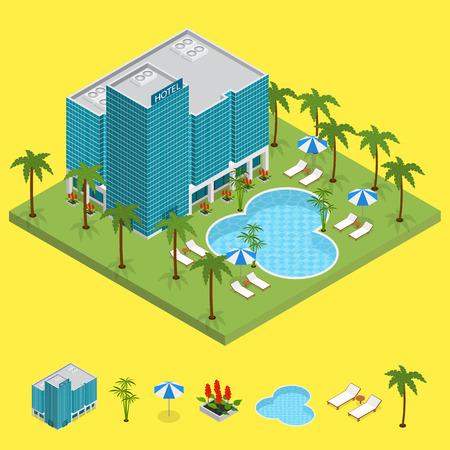 Resort Hotel Building Isometric View. Vector