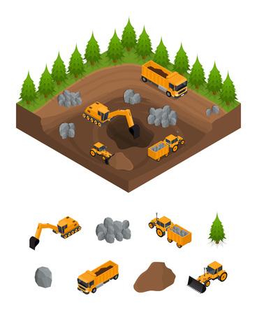 掘削機と設備アイソメビューを備えた建設採石場。ベクトル