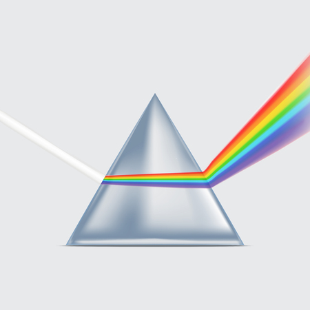 Realistic Detailed 3d Spectrum Prism. Vector Ilustração