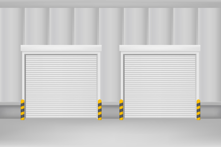 Realistic Detailed 3d Template Blank White Roller Warehouse Shutter Doors. Vector