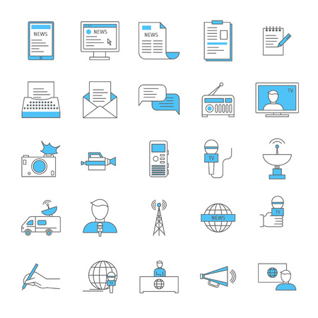 Mass Media and Journalism Thin Line Icon Set logo. Vector Vettoriali