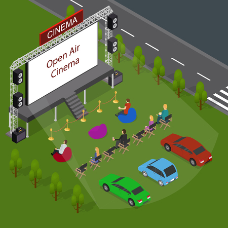 Open Air Cinema Concept 3d Isometric View. Vector