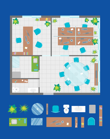 Architecture Office Plan with Furniture and Part Top View. Vector