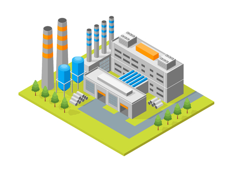 Industrial Factory Building Isometric View. Vector