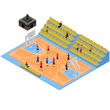 Basketball Field and Tribune 3d Isometric View. Vector Illusztráció