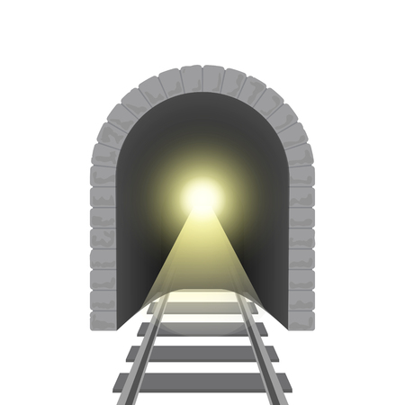 Realistic Detailed 3d Railroad Tunnel. Vector Illustration