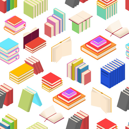 Stack Of Color Books Background Pattern Isometric View. Vector Illustration
