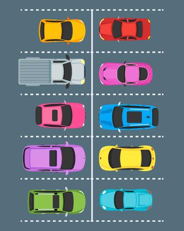 Cartoon Parking Zones with Cars Top View. Vector 일러스트