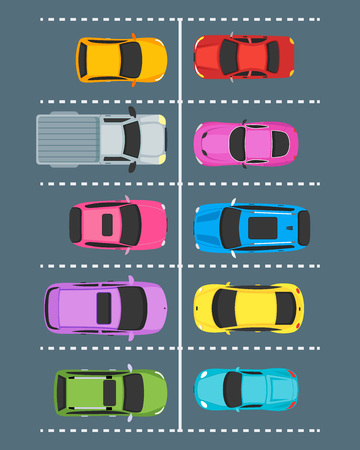 Cartoon Parking Zones with Cars Top View. Vector Vectores