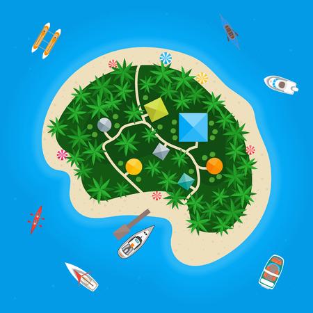 Cartoon Color Tropical Island in Water. Vector