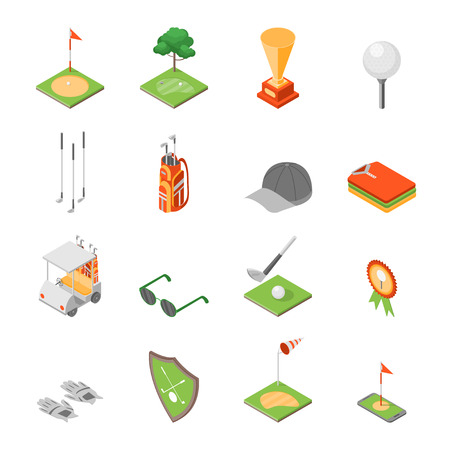 Golf Game Equipment and Signs Icons Set Isometric View. Vector Illustration