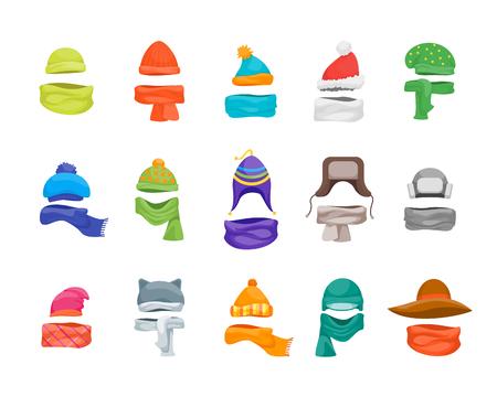 Cartoon Color Winter Hats and Scarves Headwear Icon Set. Vector Vectores