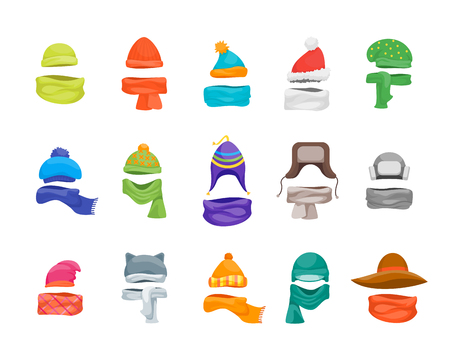 Cartoon Color Winter Hats and Scarves Headwear Icon Set. Vector Illustration