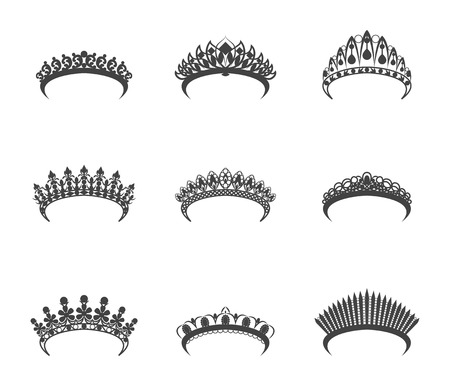 Cartoon Silhouette Black Tiara Set. Vector