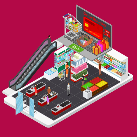 Online Mobile Shopping E-commerce Concept 3d Isometric View. Vector