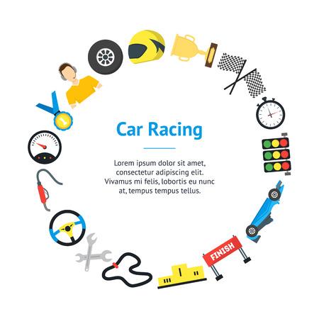 Cartoon Car Racing Banner Card Circle. Vector