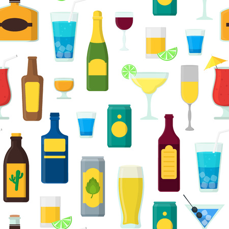 Cartoon Alcoholic Beverages Background Pattern. Vector Illustration