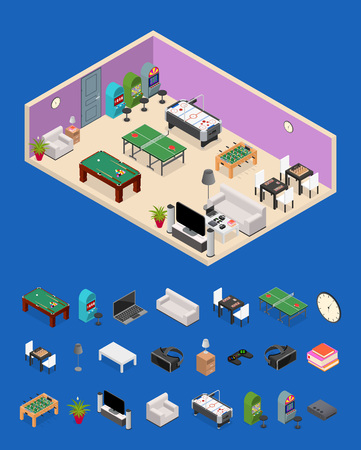 Interior Game Room and Parts Isometric View. Vector