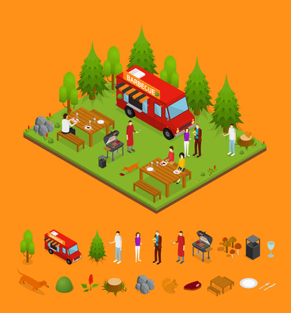 Bbq and Parts Isometric View. Vector