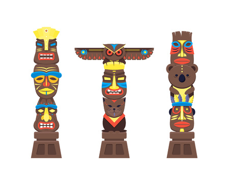 Cartoon Traditional Religious Totem Color Columns Set. Vector Çizim