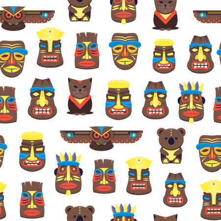 Cartoon Traditional Religious Totem Background Pattern. Vector