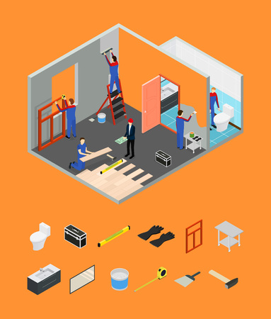 Interior Renovation Room or House and Parts Isometric View. Vector