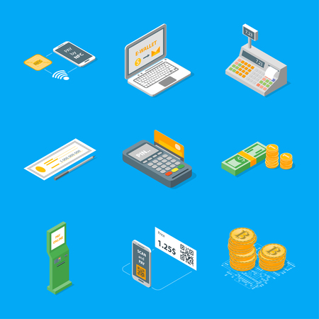 Payment methods icons set. Isometric view, vector illustration.