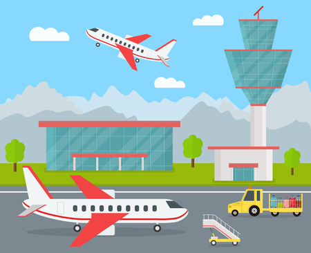 Cartoon airport building and airplanes, vector illustration.