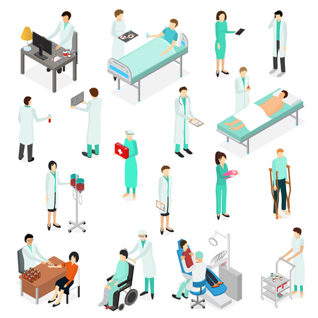 Nurses Attending Patients Icons Set Isometric View Treatment Clinic Staff and Sick Healthcare Concept. Vector illustration of Professional Visit
