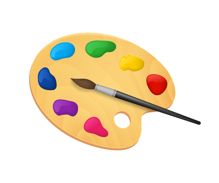 Realistic Detailed 3d Wooden Art Palette with Paints and Brush. Vector