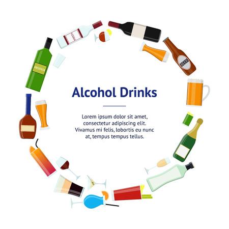 Cartoon alcoholic beverages, tasty drink banner circle for bar, pub and restaurant. Flat style design, vector illustration. Illustration