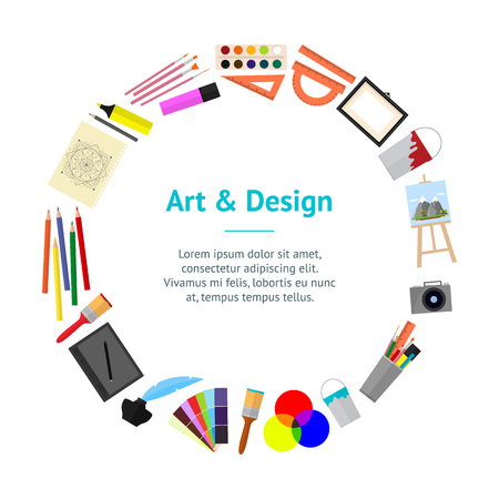 Cartoon kunst banner in cirkel. Apparatuur voor kunstenaars, tekengereedschappen. Vlakke stijl ontwerp, vectorillustratie. Stock Illustratie