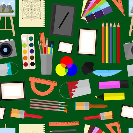 Cartoon kunst naadloze patroon achtergrond. Apparatuur voor kunstenaars, tekengereedschappen. Vlakke stijl ontwerp, vectorillustratie.