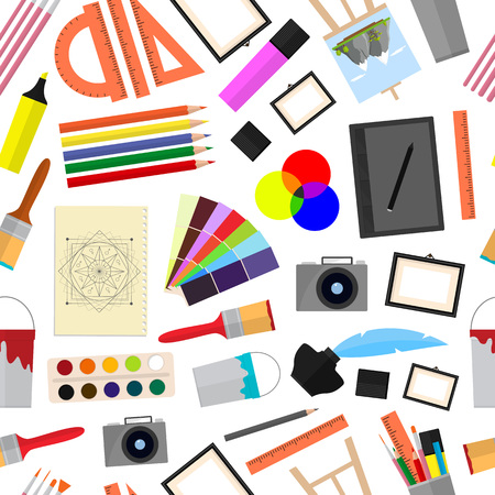 Cartoon art color icons set. Equipment for artist, painting tools. Flat style design, vector illustration.