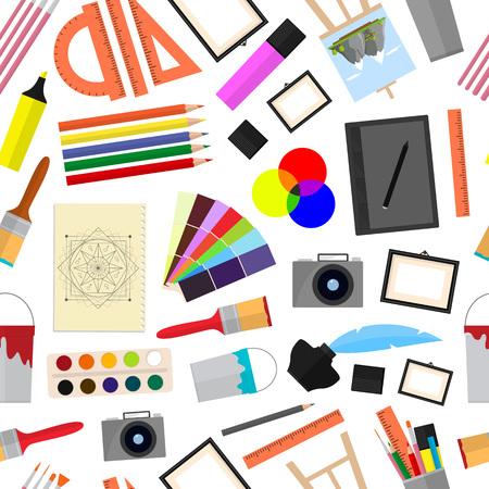 Cartoon kunst kleur pictogrammen instellen. Apparatuur voor kunstenaars, tekengereedschappen. Vlakke stijl ontwerp, vectorillustratie.