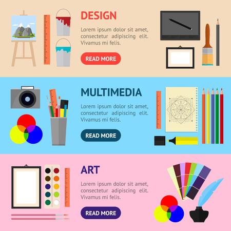 Cartoon kunst banner in horizontale set. Apparatuur voor kunstenaars, tekengereedschappen. Vlakke stijl ontwerp, vectorillustratie. Stock Illustratie