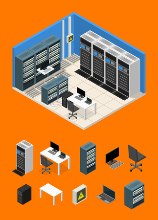 Interior Server Room and Parts Isometric View. Vector