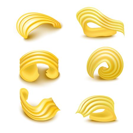 リアルな詳細な3D異なるタイプのバターカールセット。ベクトル