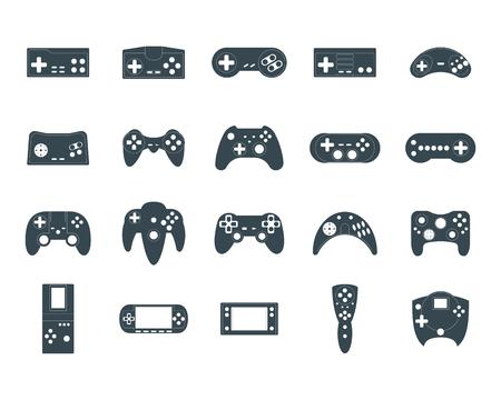 Cartoon Silhouette Black Gamepad Icon Set. Vecteur Banque d'images - 91875043