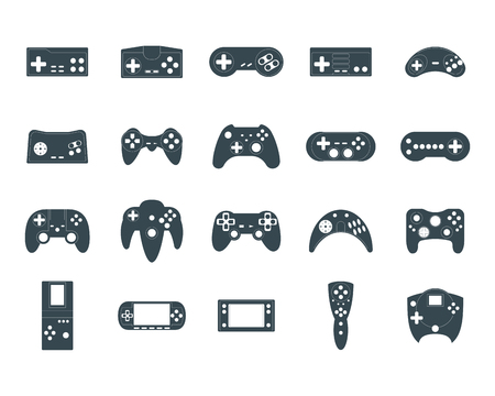 Cartoon Silhouette Black Gamepad Icon Set. Vector