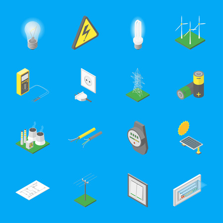 Power signs icons set isometric view.