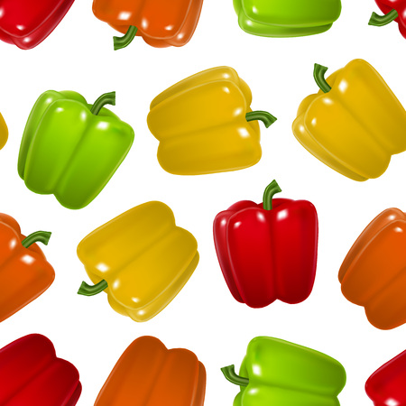 Realistic Detailed Color Pepper Seamless Pattern Background. Vector