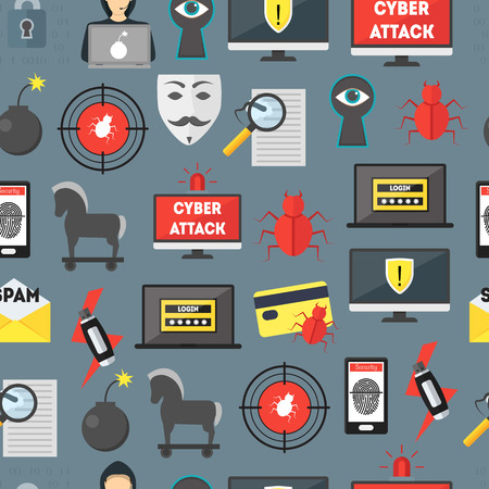 Cartoon Cyber Crime Security Seamless Pattern Background. Vector 일러스트