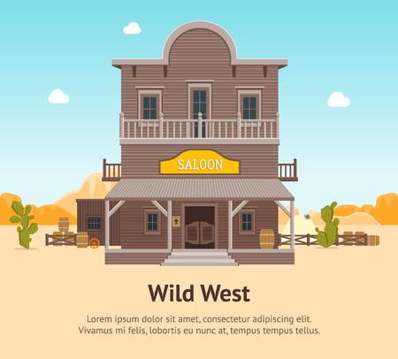 Cartoon Building Saloon on a Wild West Landscape Background Card Poster Wooden Old House Cowboy Bar Flat Style Design. Vector illustration Illustration